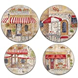Range Kleen 5082 4-Pack Paris Café Round Burner Kover Set, 8.5 Inches and 10.5 Inches