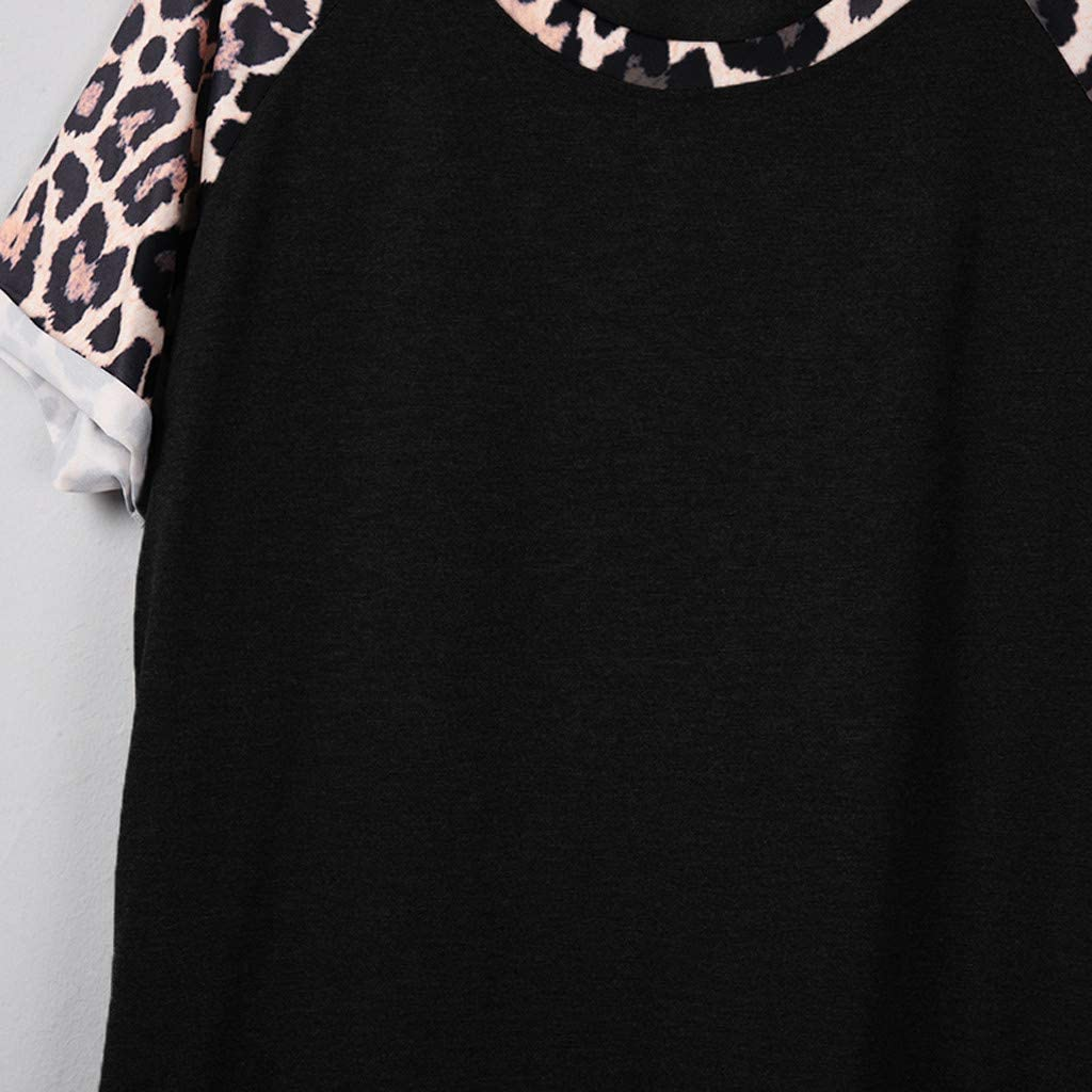 Meikosks Ladies Leopard Print Short Sleeve Splicing Tops O-Neck Summer T Shirt Classic Fit Pullover