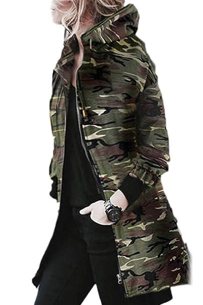 Sevozimda La Mujer Casual Cremallera con Capucha De Alta Baja Irregular Camuflaje Chaqueta De Invierno Outwear: Amazon.es: Ropa y accesorios