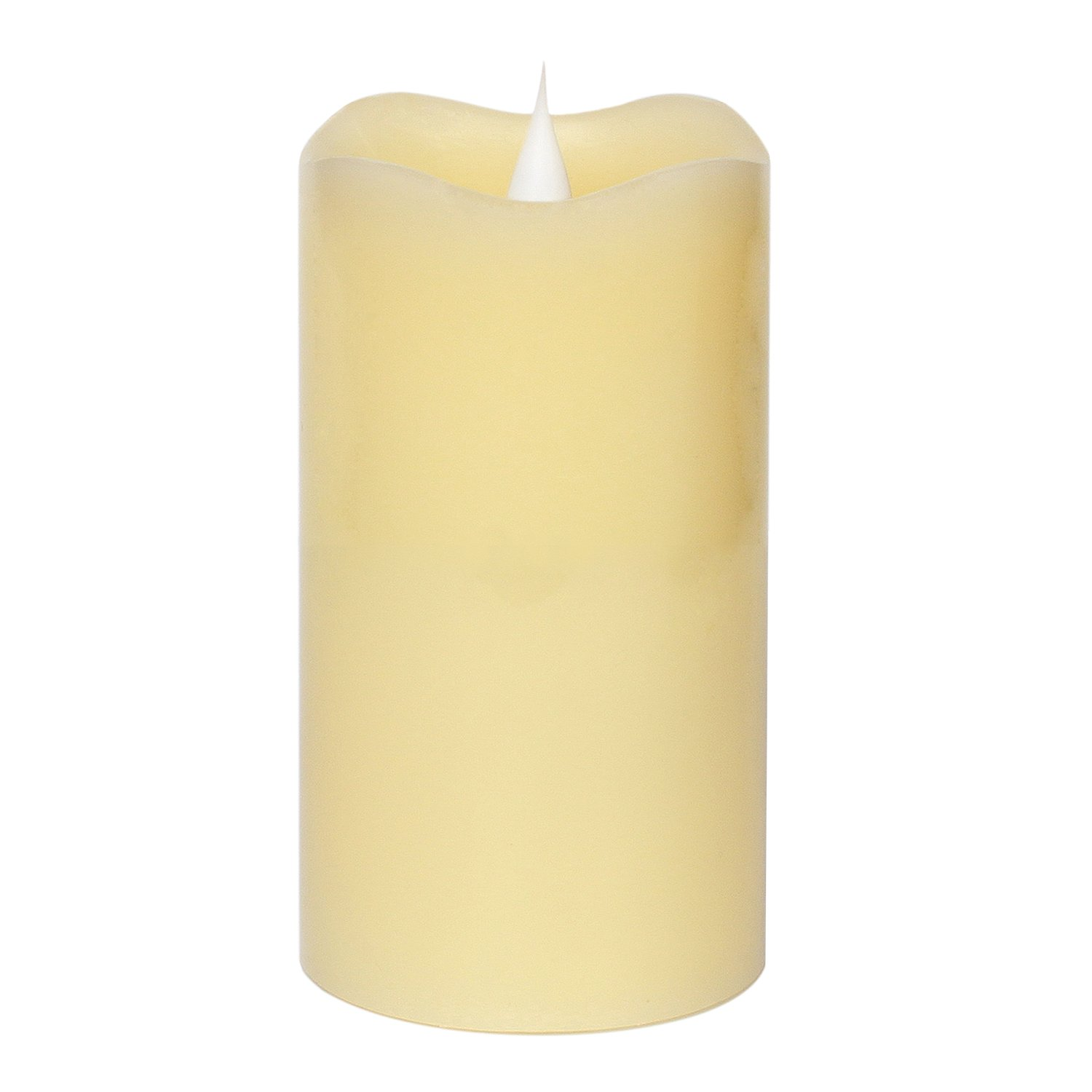 3D Moving Flame Led Candle With Timer, Pillar Flamless Candle for Christmas Decoration, 3x5 Inch, Ivory GiveU LM13004