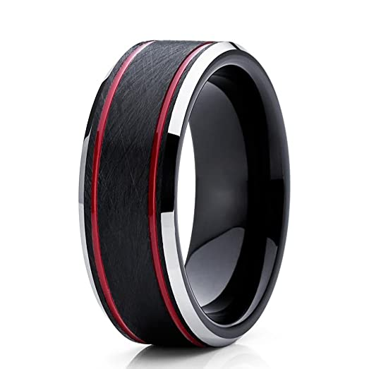 Amazoncom Silly Kings 8mm Red Tungsten Carbide Wedding Band