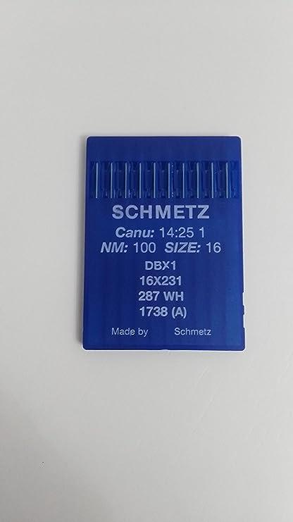 Agujas Schmetz maquinas de Coser 1738 industriales DBx1 Redondas Originales (Grueso 100)