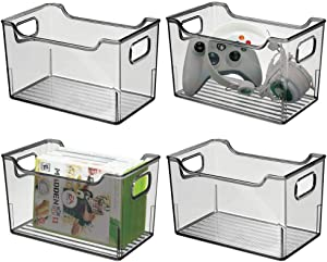 """mDesign Plastic Storage Organizer, Holder Bin Box with Handles - for Cube Furniture Shelving Organization for Closet, Kid's Bedroom, Bathroom, Home Office - 10"""" x 6"""" x 6"""" High, 4 Pack - Smoke Gray"""