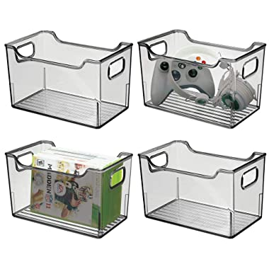 mDesign Plastic Storage Organizer, Holder Bin Box with Handles - for Cube Furniture Shelving Organization for Closet, Kid's Bedroom, Bathroom, Home Office - 10  x 6  x 6  High, 4 Pack - Smoke Gray