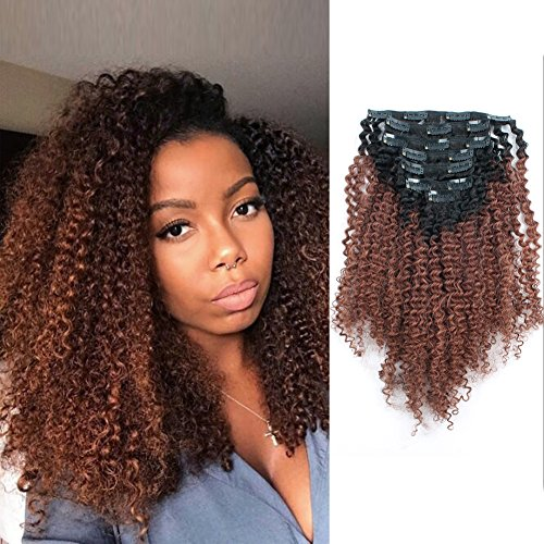 AmazingBeauty 3C 4A Big Afro Curly Ombre Hair Extensions Dou