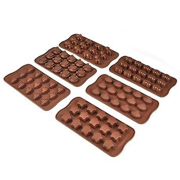 Moldes de silicona para chocolate y gelatina, juego de 6 moldes para hornear tartas: Amazon.es: Hogar