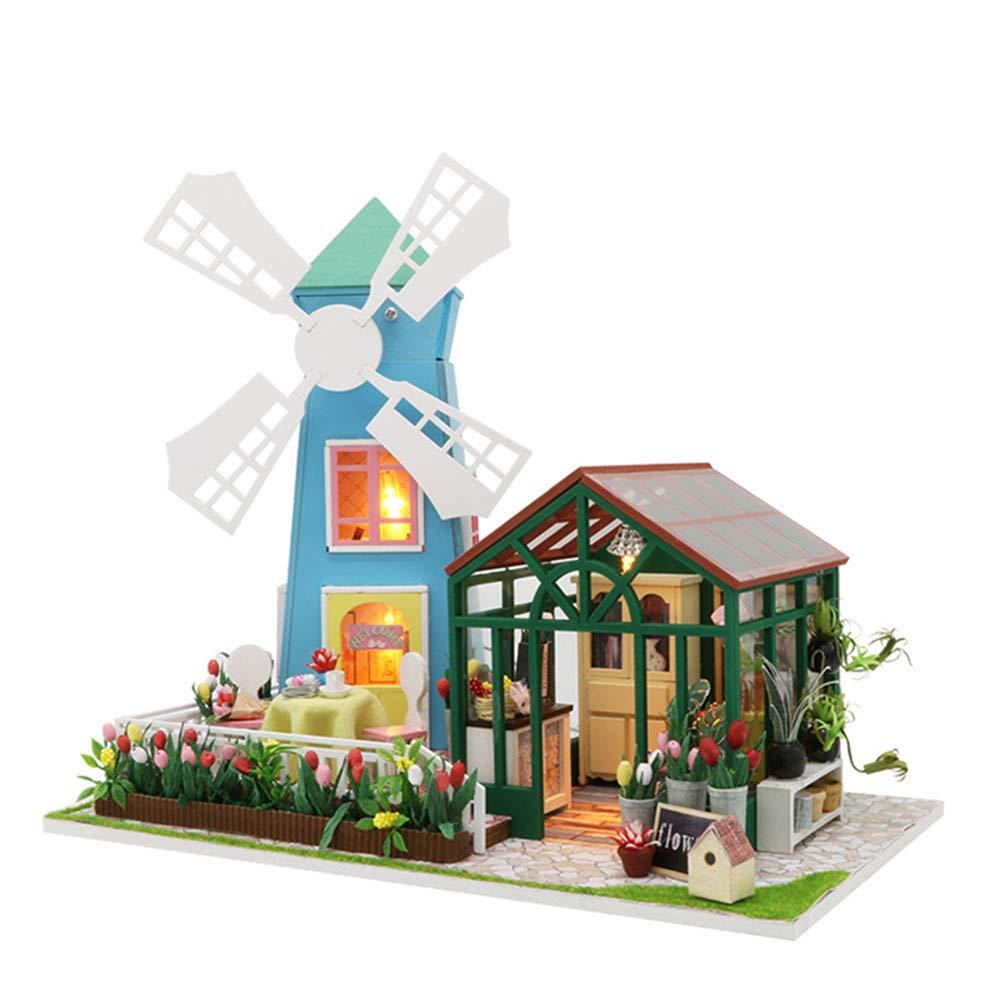 Casa in miniatura di DIY Fai da te Casa Mulino a vento Serre Assemblaggio manuale Modello Villa Creativo Regalo di compleanno Presente Giocattoli di legno Bambole di legno Casa con mobili e accessori,