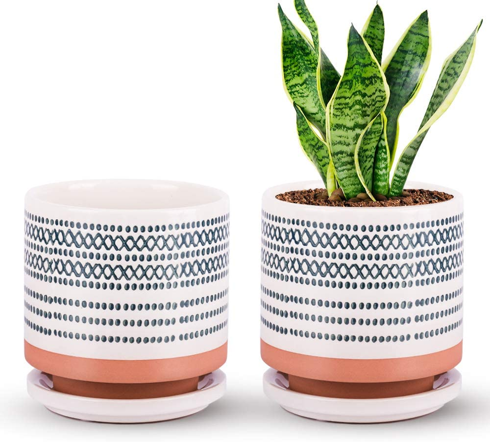 Succulent Pots, Small Flower Pots Indoor, 5 Inch Ceramic Planter Plant Pot with Porcelain Tray, Drainage Hole for Snake Plants, Jade Plant, Herbs, Prack of 2 – Plants Nor Included