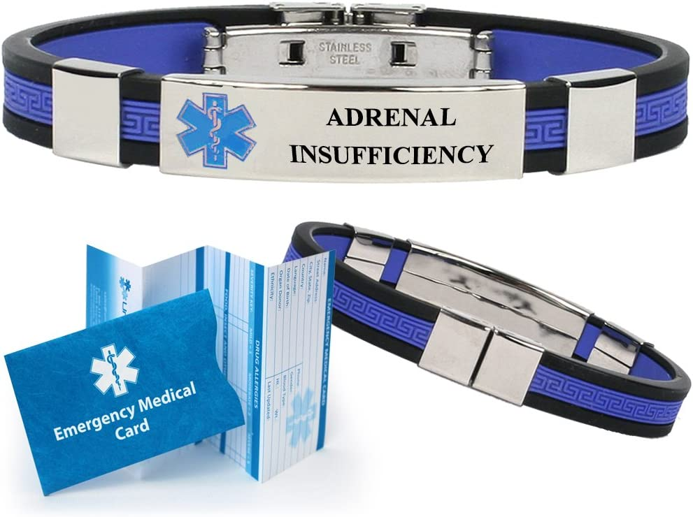 Adrenal Insufficiency Designer Medical Alert ID Bracelet. Choose Color