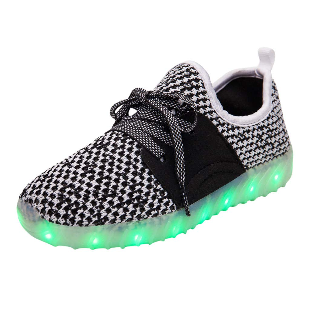 MIS1950s Boys & Girls & Kids & Toddlers LED Light Up Shoes Flashing Sneakers Knit Breathable Walking Shoe