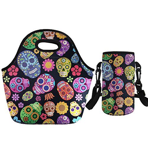 Coloranimal Colorful Sugar Skulls Puzzle Neoprene Lunch Bag+Water Bottle Case
