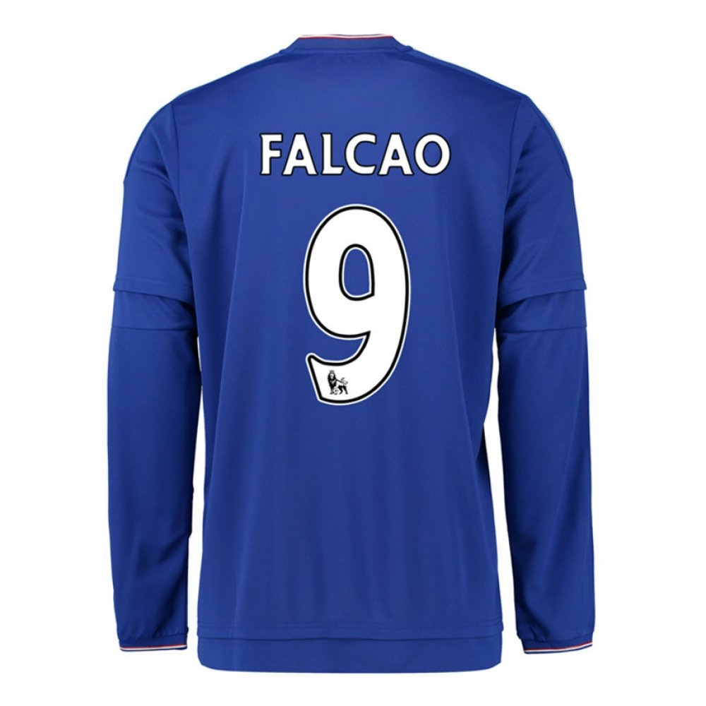 2015-2016 Chelsea Home Long Sleeve Football Soccer T-Shirt Trikot (Radamel Falcao 9)