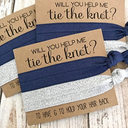 Set of 5 Bridesmaid Proposal   Will You Help Me Tie The Knot   Hair Tie Favors (Navy + Silver Shimmer)