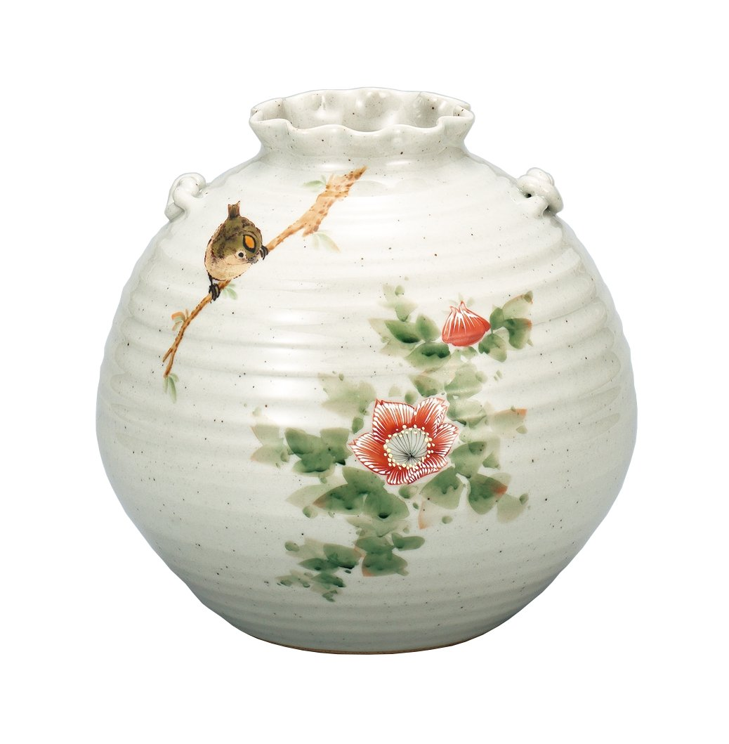 マルサン宮本 九谷焼 花器 7号花瓶 花鳥 AP3-1046 B01HXQM8Y4