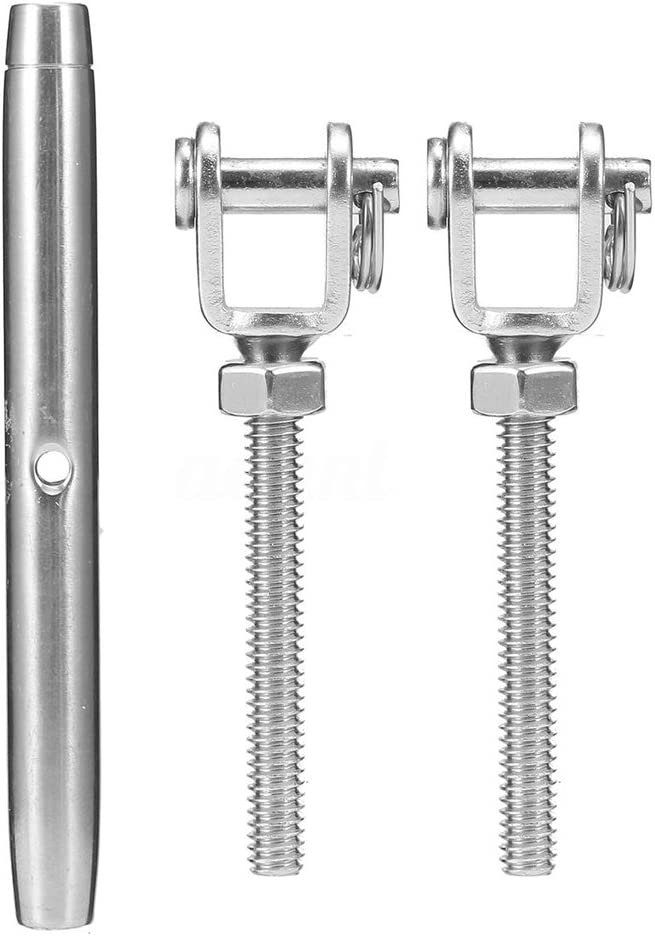 Milageto Stainless Steel Turnbuckle Jaw Wire Rope Fork Rigging Screw Bottle Screws
