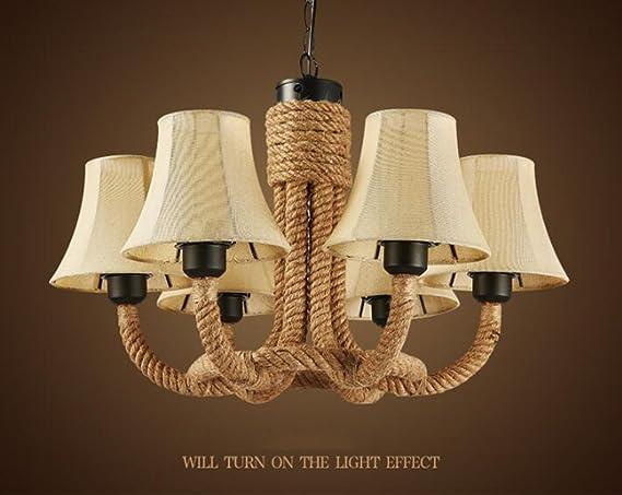 Lampadari stile rustico americano lampadario a canapa di montagna