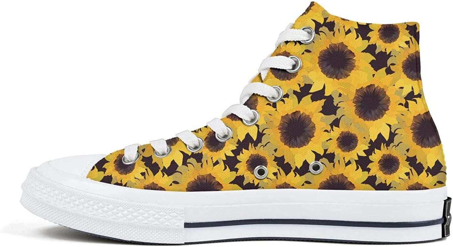 isjdsoa Red Sketch of Stylized Golden Sunflowers Canvas Sneakers High Top Lace Ups Casual Walking Shoes Fashion Sneakers