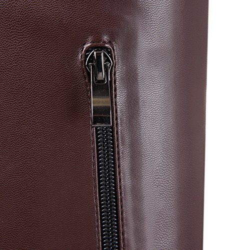 Heels Toe US Zippers Solid Brown AmoonyFashion High PU Soft Stiletto Round B M Boots with PU Womens and Material 8 Closed 1qtgXF