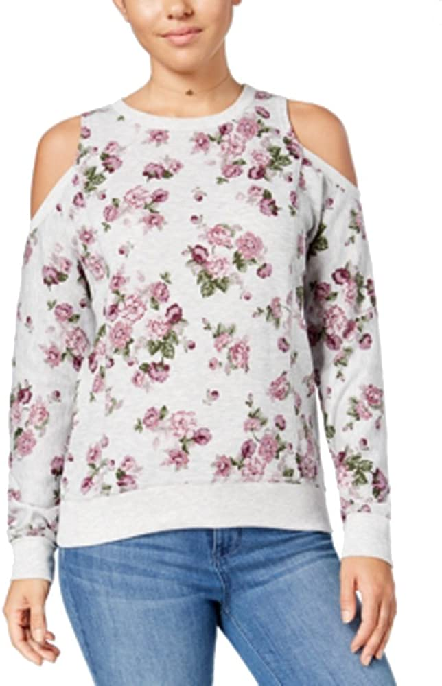 Ultra Flirt Juniors Floral-Print Cold-Shoulder Sweatshirt