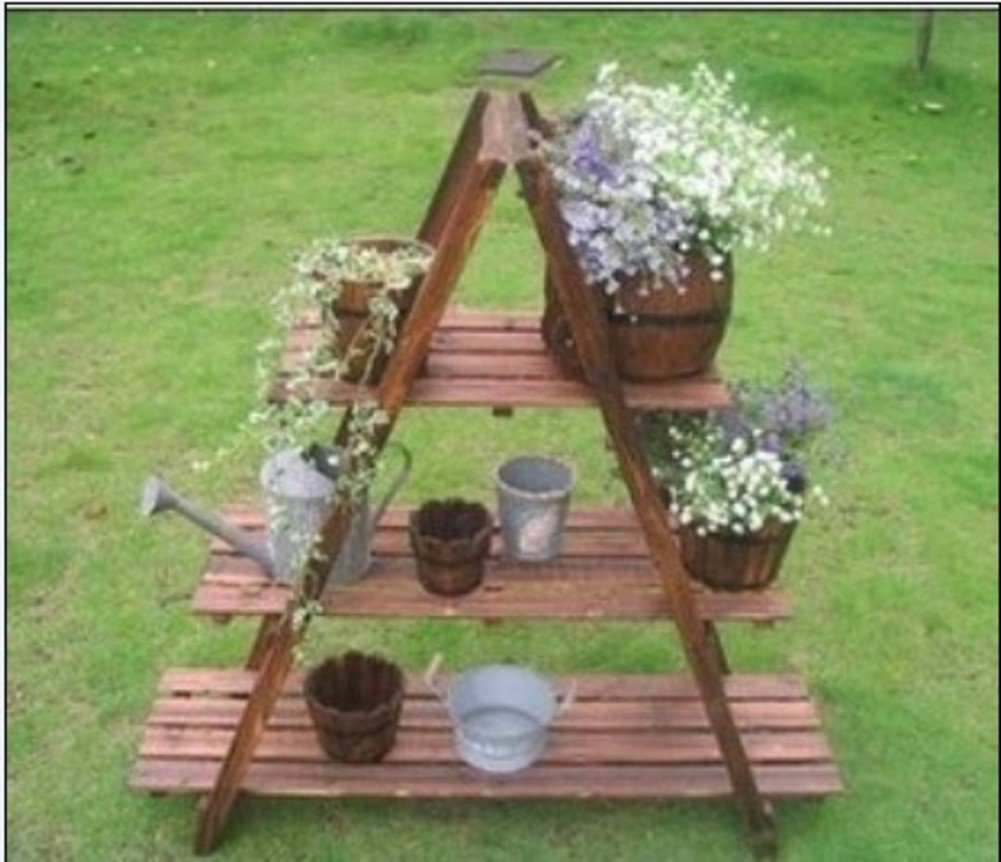 Type a flower rack/three-layer carbonized flower racks/anti-corrosion flower racks/flower pot/-B