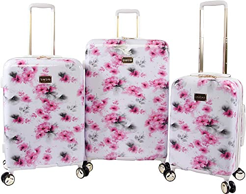 BEBE Women s Juliette 3pc Spinner Suitcase Set, Pink Floral, One Size