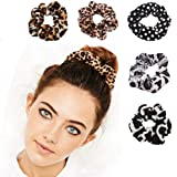 5 Pcs Cheetah Scrunchie Hair Scrunchies Velvet Elastic Hair Bands Scrunchy Bobbles Soft Hair Ties Ropes Scrunchie for…