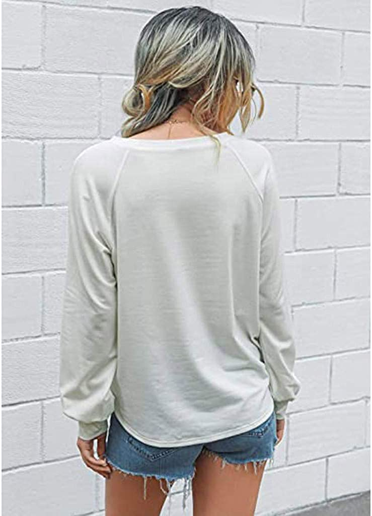Womens Sweatshirts Chakimi Pullover Round Neck Top Blouses Long Sleeve Solid Sweatshirt Tops Loose Casual T-Shirt