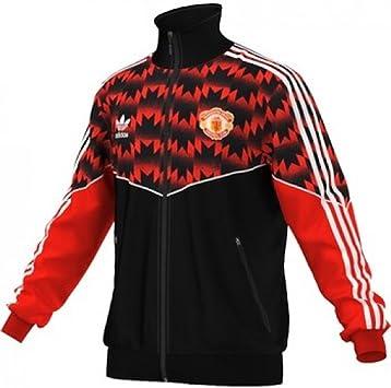 Manchester United Track Top Sweatshirt Fußball Shirt Top Schwarz Herren adidas
