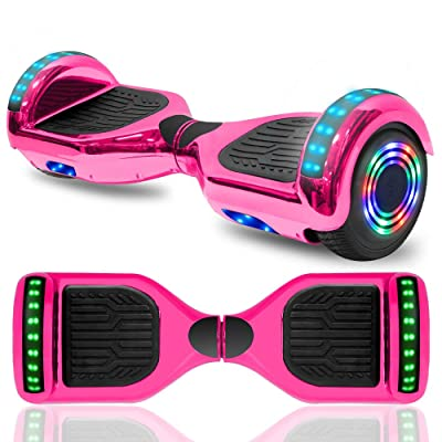 "Hoverboard Electric Self Balancing Scooter 6.5"" Wheel with Built in Bluetooth Speaker LED Side Lights Kids Gift Safety Certified (Chrome Pink): Sports & Outdoors"
