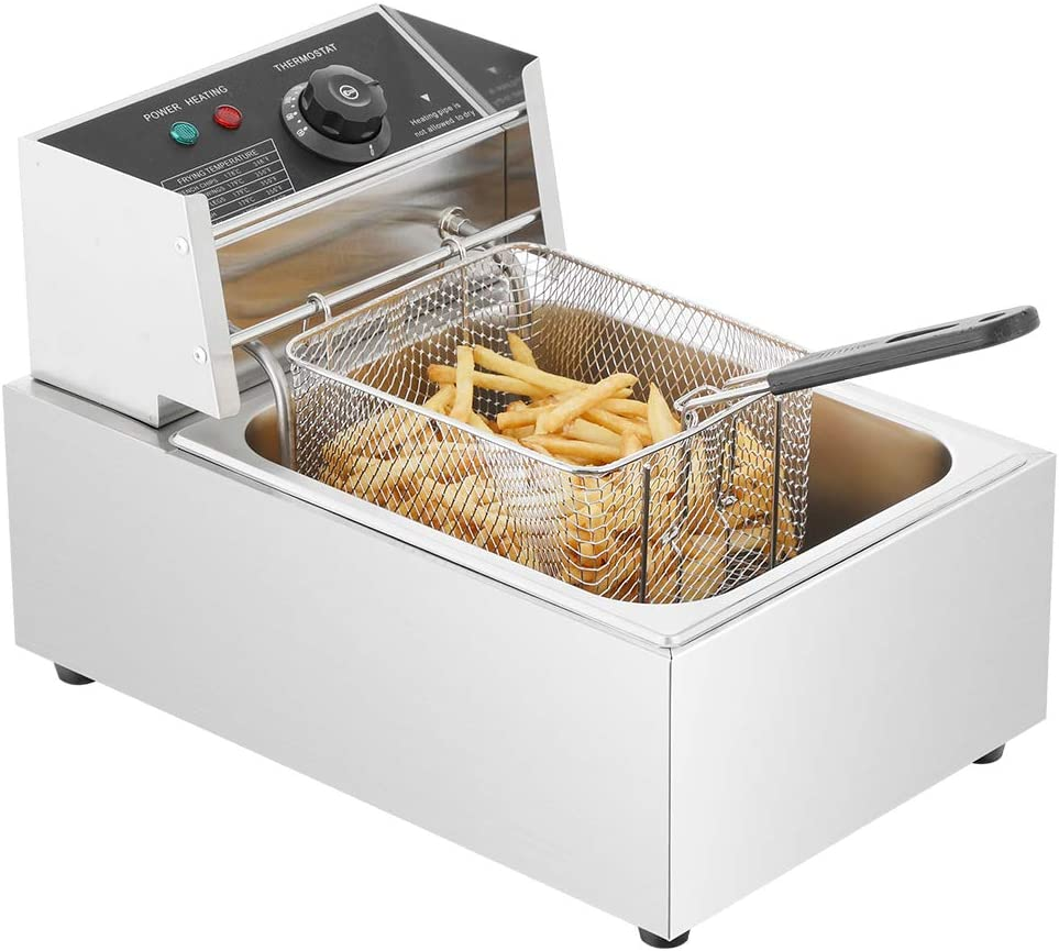 ONG Electric Deep Fryer with Basket Lid 6L Heavy Duty Stainless Steel Countertop Single Tank Kitchen Frying Machine 2500W, Stainless Steel French Fryer for French Fries Fried Chicken, US Plug