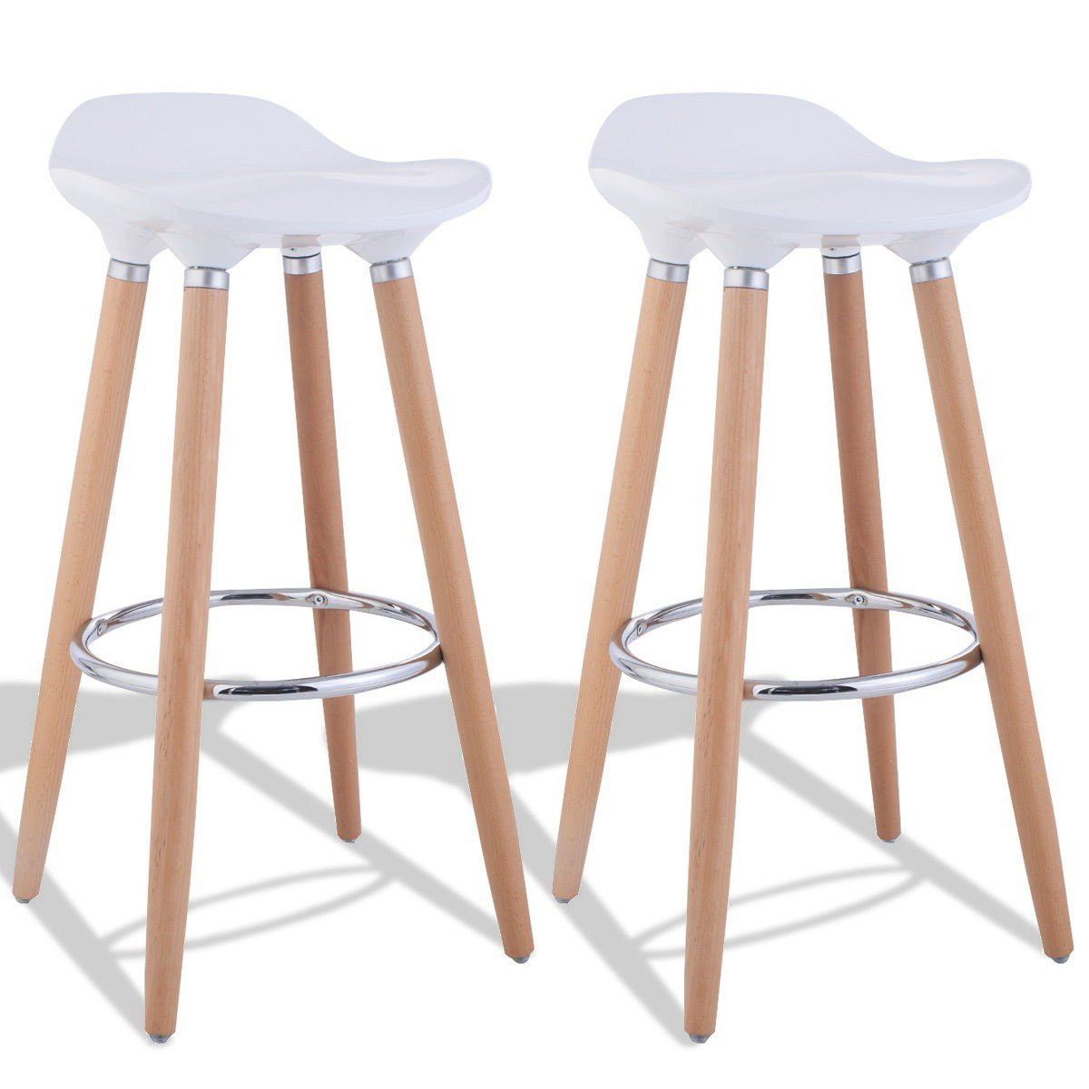 LordBee New Modern Unique Simple Style High Strong Quality Wood ABS Material Set of 2 ABS Bar Stool with Wooden Legs White seat and Wood Legs by LordBee
