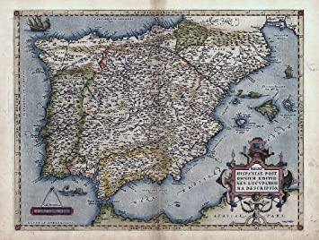 Reproduction Antique Map Of Hispaniae Espania Spain Portugal - Portugal map size
