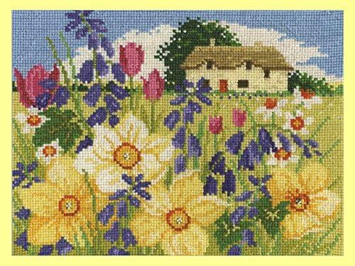 dise/ño de Flores de Primavera de paisajes de Temporada 100/% algod/ón DMC/ Varios 4/Unidades /Kit de Punto de Cruz