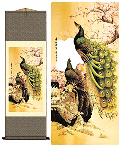 Grace Art Asian Wall Scroll, The Passionate Peacock Couple