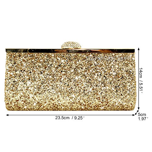 Bridal Sparkly Evening Prom Gold Party Clutch Womens Gold Wocharm Silver Black Glitter Bag qERUfn