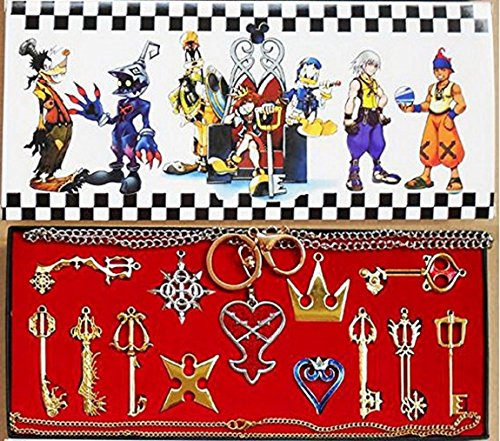 Keyblade Set - Kingdom Keys Hearts Keyblade Pendant Necklace Set Cosplay Accessories for Christmas Gift Golden 13