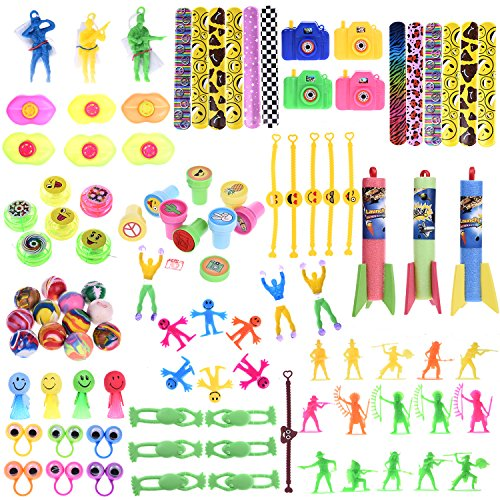 100PCs Assortment Mini Toys Party Favor Boxes Including Slap Bracelets, Mini Cameras,Stamps,Yo-Yos and More for Goody Bags Fillers, Pinata Toys, Kids Party Favors -