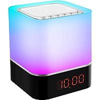 Wekker Nachtlamp en Speaker, Multifunctioneel LED Bedlampje Nachtlampje, Bluetooth-luidspreker met Moodlight, 7…