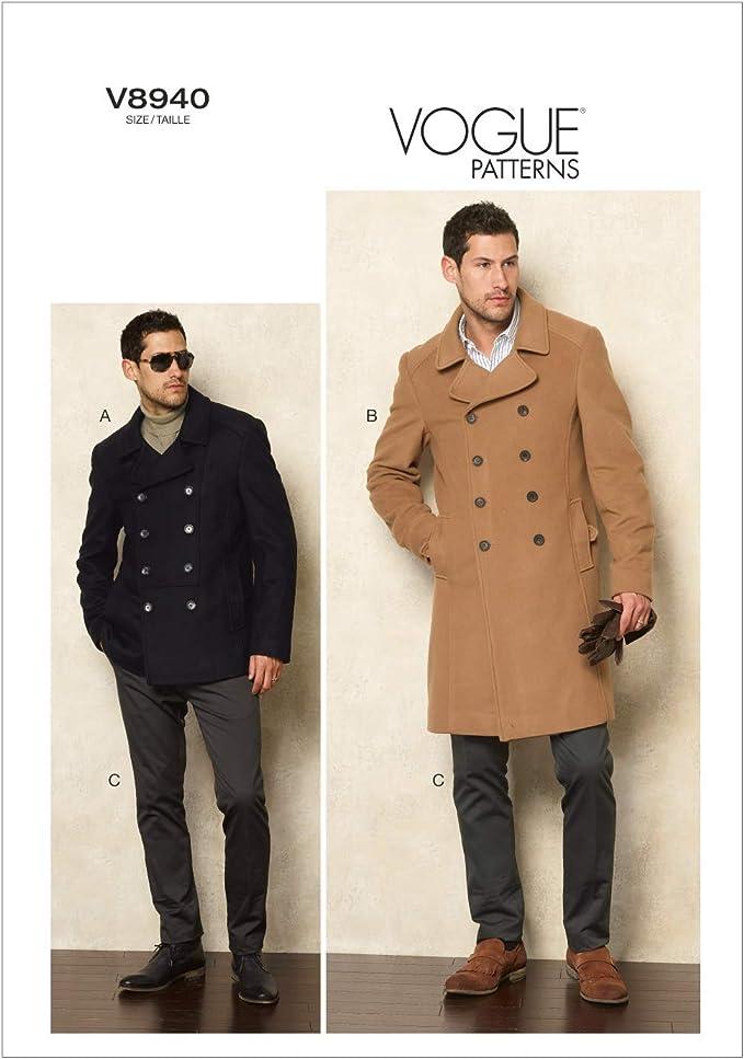 Patrones para chaquetas y pantalones de hombre tallas 34, 36, 38 y 40 The McCall Pattern Company V8940 Vogue color blanco
