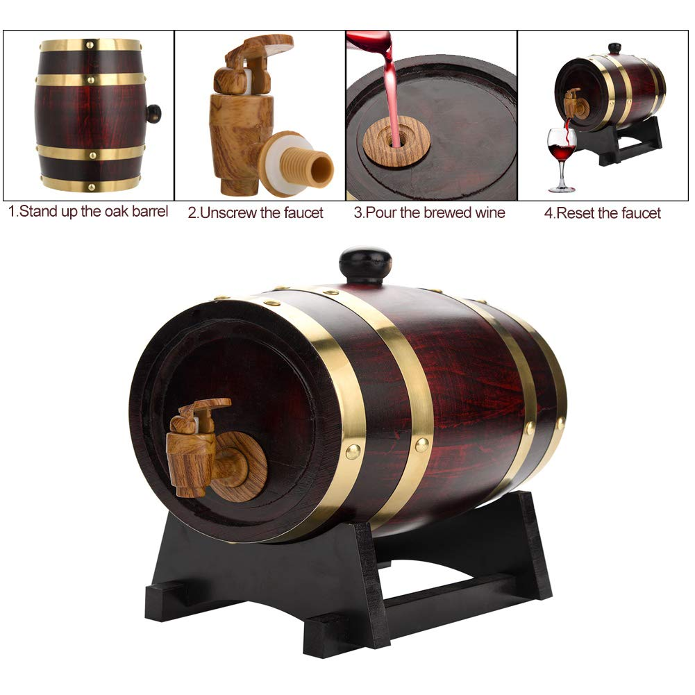 Wine Barrel - 1.5L Vintage Wood Oak Timber Wine Barrel Dispenser for Beer Whiskey Rum Port - Great Gift for Men and Women(Wine Red) (1.5L)