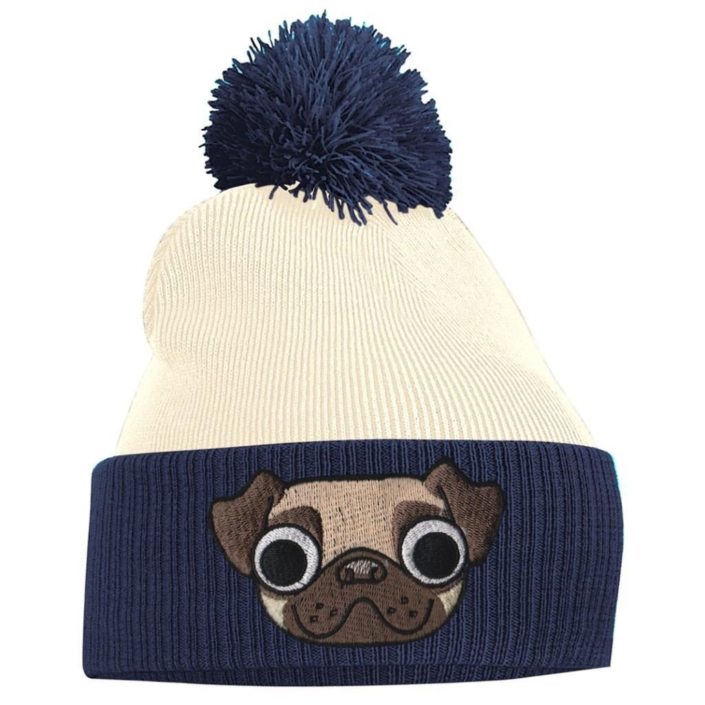 Amazon.com  Bang Tidy Clothing Pom Pom Beanie - Pug - French Navy and Off  White  Clothing 2160b5baa7b