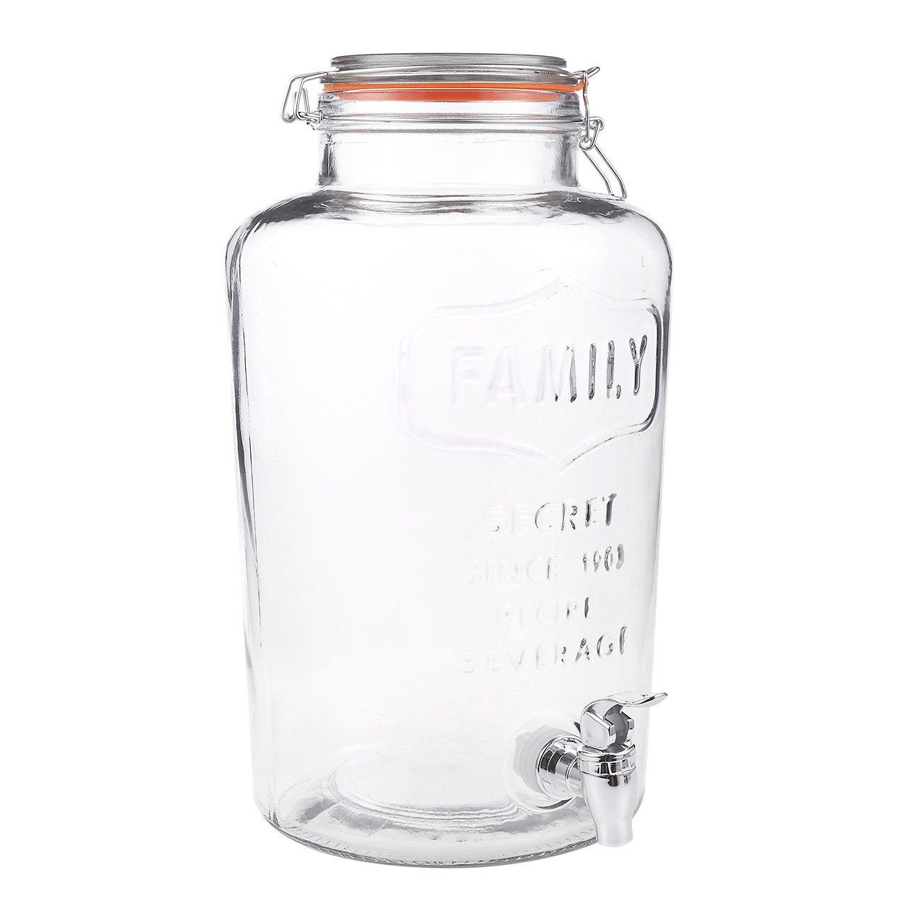 Juvale 8 Liter/ 2 Gallon Mason Jar Drink Dispenser - Glass Beverage Dispenser with Spigot and Bail Lid Closure