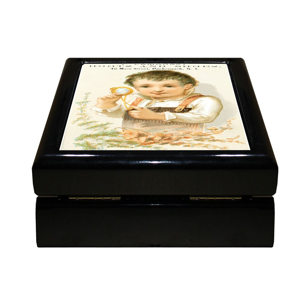 Style in Print J Demarest Boots & Shoes Old Poster #2 4''x4'' Jewelry Box Ceramic Tile Black