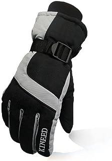 MSKAY SKI GLOVES Guantes Impermeables del esquí, Guantes de Snowboard de Invierno Termal Ciclismo Motocicleta Deportes al Aire Libre Ajustable Guantes, Green, F