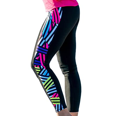 9ee50d951967c8 Devon Maryn Women's Bandage Stripe Yoga Compression Leggings w/ Side Pockets