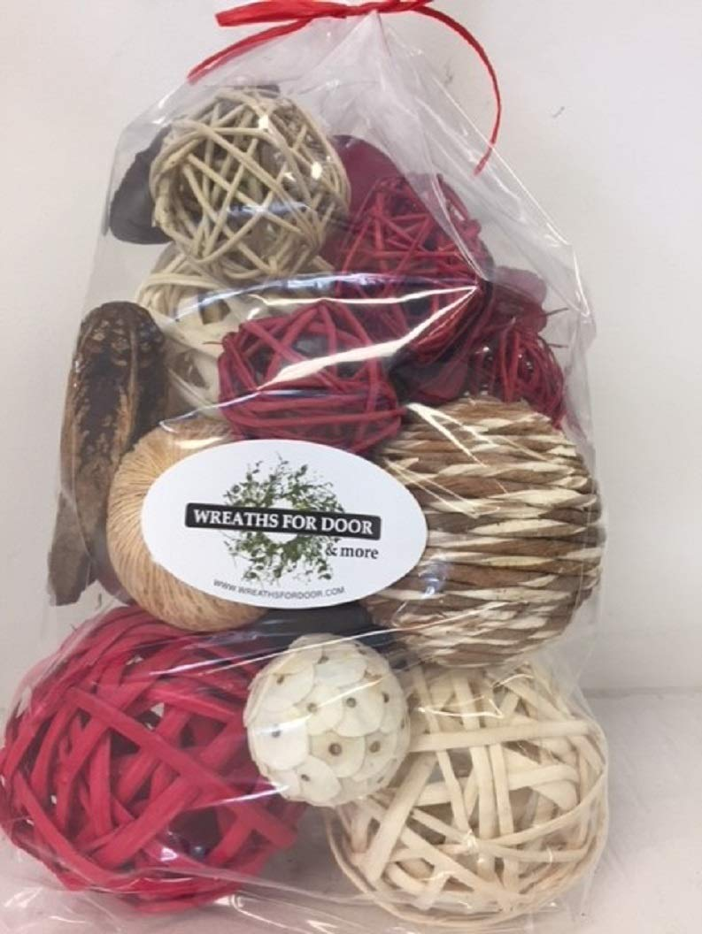 Wreaths For Door Red Rattan Decorative Spheres Natural Twig Balls and Botanical Pods Vase Or Bowl Filler Traditional to Farmhouse