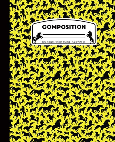 Composition: Unicorns Yellow and Black Marble Composition Notebook for Girls. Magical Fantasy Wide Ruled Baseball Book 7.5 x 9.25 in, 100 pages, ... kids, elementary school students and teachers