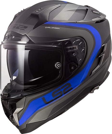 Ls2 Motorradhelm Ff327 Challenger Fusion Matt Titanium Blau Grau Blau Xl Auto
