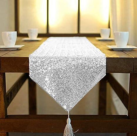 Amazon Com Shinybeauty Tassel Silver Sequin Dresser Scarves Or Table Runner 12x72 Inch Elegant Wedding Event Decoration Home Kitchen