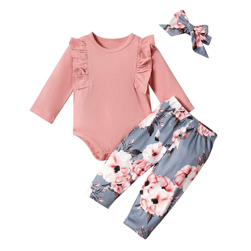 Newborn Baby Girl Outfits 12-18 Months, Pink Infant Long Sleeve Ruffle Romper Bodysuit Tops and Floral Pants Clothes with Headband Gallity 3PCS Baby Clothes Girl Sets